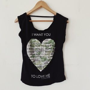 I want You size Small Short sleeves Scoop back neck  Top